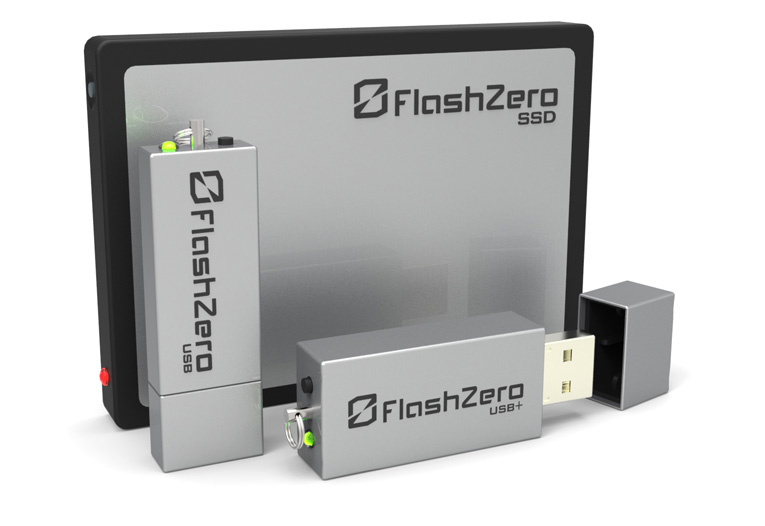 FlashZero secure flash drives: USB, USB+ and SSD.